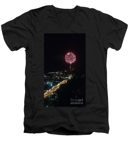 Men's V-Neck T-Shirt featuring the photograph Mountain Fireworks by Janice Spivey