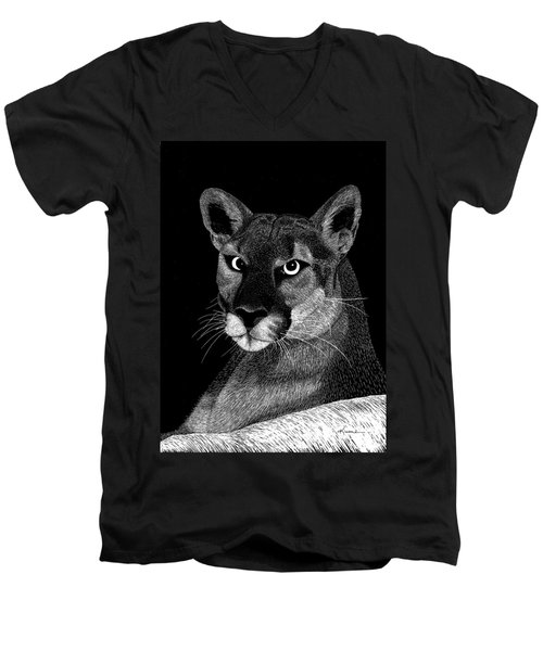 Men's V-Neck T-Shirt featuring the mixed media Mountain Lion by Kume Bryant