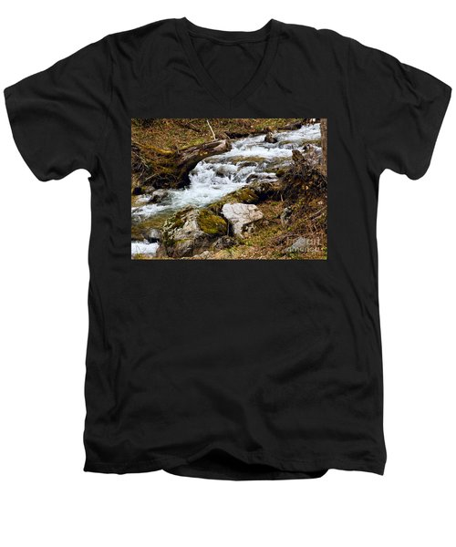 Men's V-Neck T-Shirt featuring the photograph Mountain Stream by Les Palenik