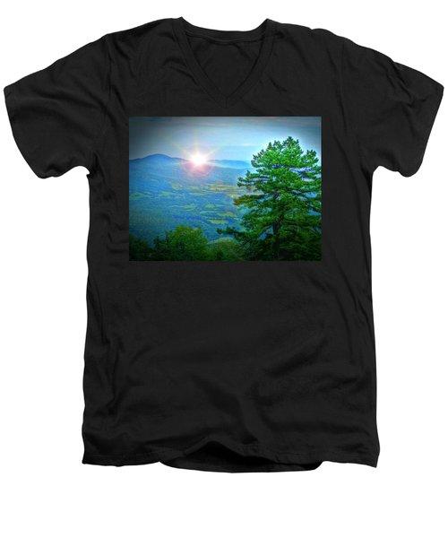 Mountain Sunrise Men's V-Neck T-Shirt by Dan Stone