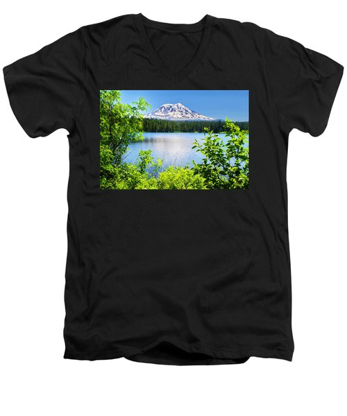 Mt Adams And Takhlakh Lake Men's V-Neck T-Shirt