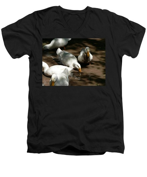 Men's V-Neck T-Shirt featuring the photograph Muddy Ducks by Laurel Best