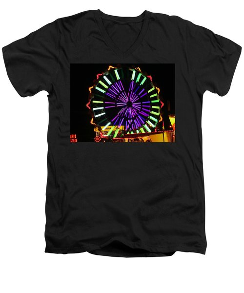 Men's V-Neck T-Shirt featuring the photograph Multi Colored Ferris Wheel by Kym Backland