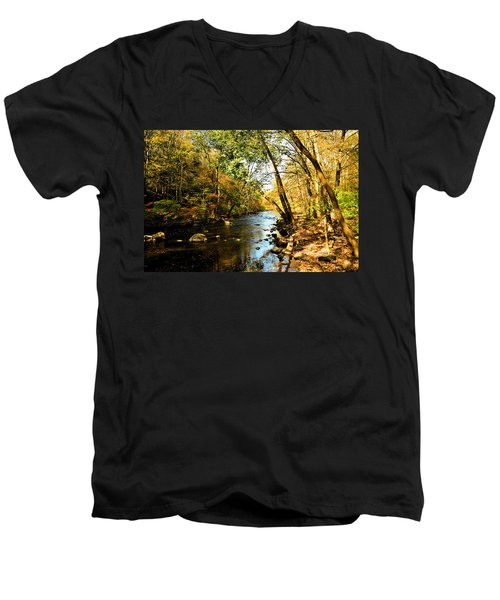 Men's V-Neck T-Shirt featuring the photograph Musconetcong River by Brian Hughes