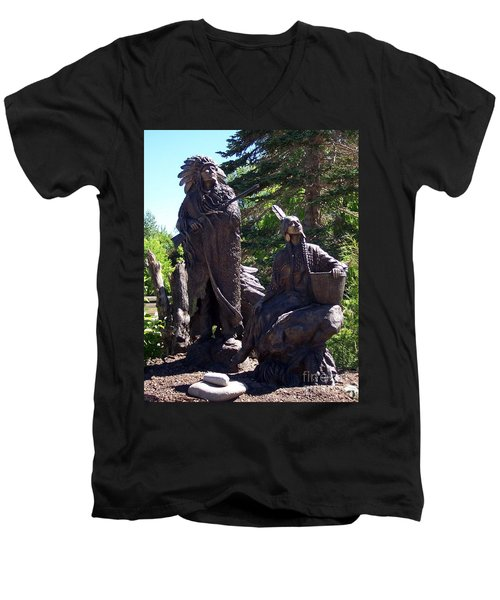 Men's V-Neck T-Shirt featuring the photograph Native American Statue by Chalet Roome-Rigdon