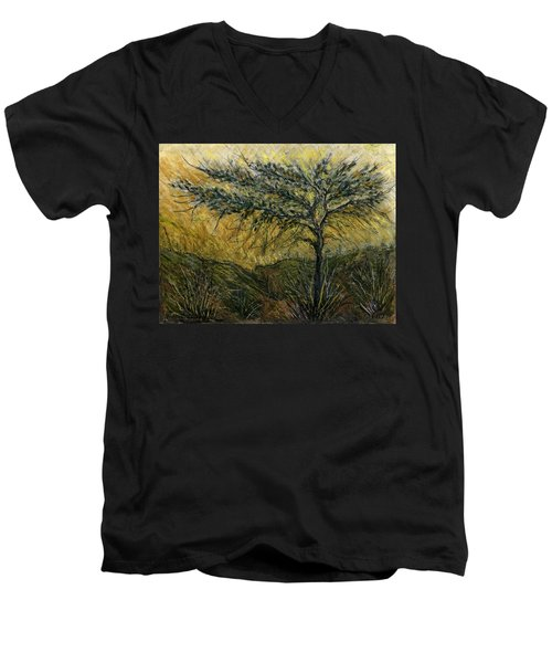 Nature Landscape Green Thorns Acacia Tree Flowers Sunset In Yellow Clouds Sky  Men's V-Neck T-Shirt by Rachel Hershkovitz