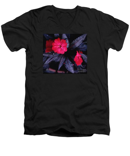 Men's V-Neck T-Shirt featuring the photograph New Guinea Impatiens by Tom Wurl