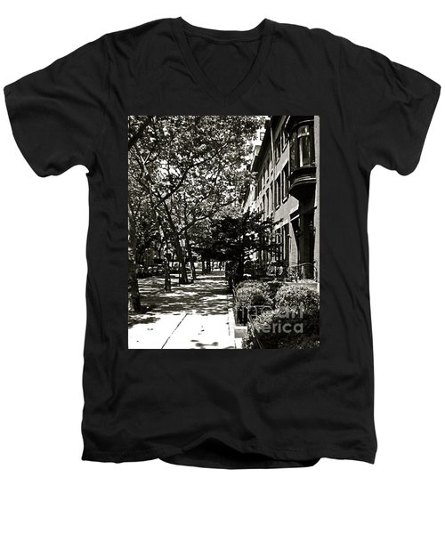 Men's V-Neck T-Shirt featuring the photograph New York Sidewalk by Eric Tressler