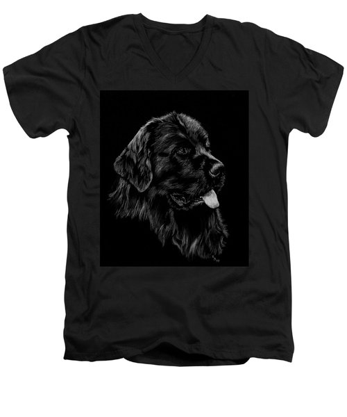 Men's V-Neck T-Shirt featuring the drawing Newfoundland by Rachel Hames