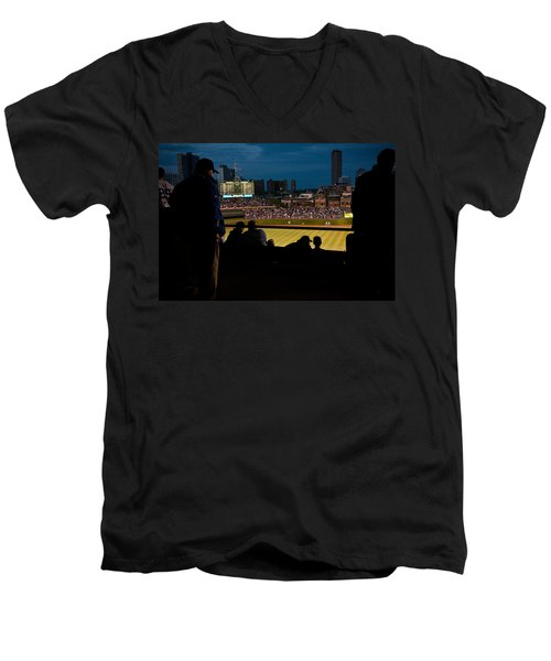 Night Game At Wrigley Field Men's V-Neck T-Shirt