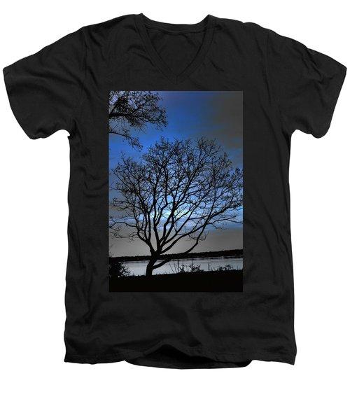 Night On The River Men's V-Neck T-Shirt by Dan Stone