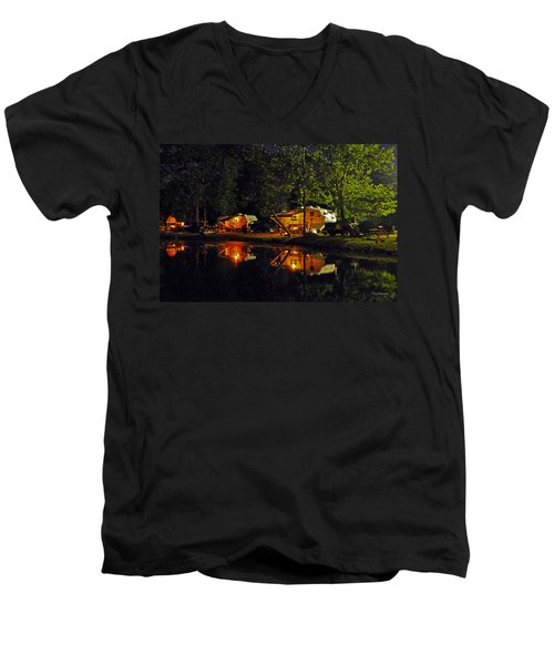 Nighttime In The Campground Men's V-Neck T-Shirt by Kay Lovingood
