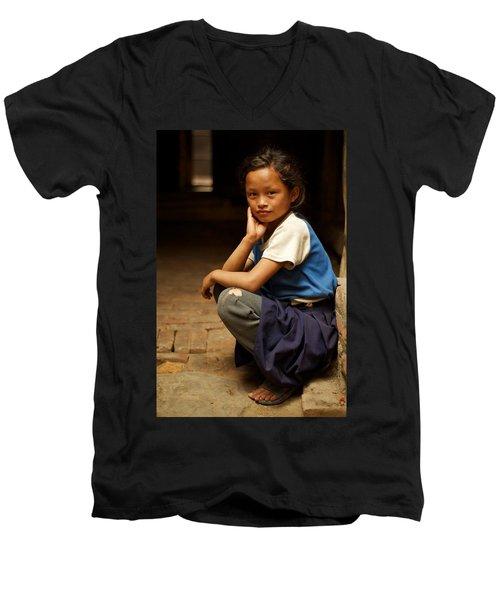 Nine Years Old Men's V-Neck T-Shirt by Valerie Rosen