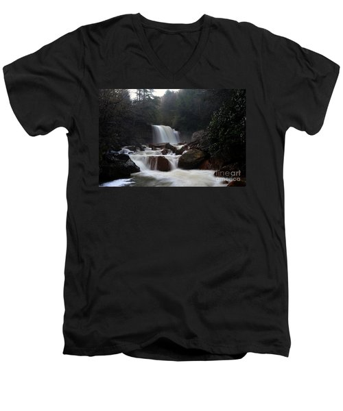 Men's V-Neck T-Shirt featuring the photograph North Forks Waterfalls by Dan Friend