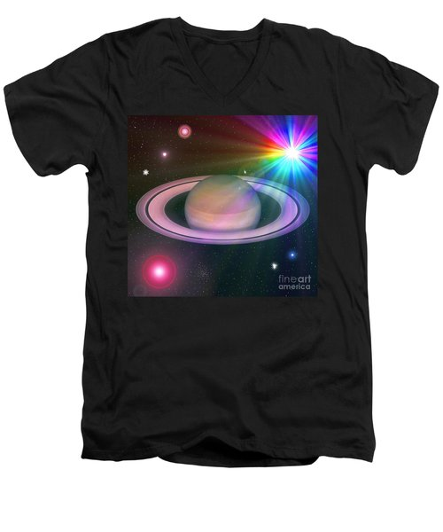 Men's V-Neck T-Shirt featuring the digital art Nova Rainbow by Greg Moores