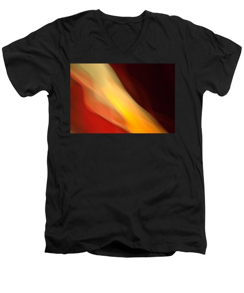 Men's V-Neck T-Shirt featuring the mixed media O'keefe Iv by Terence Morrissey
