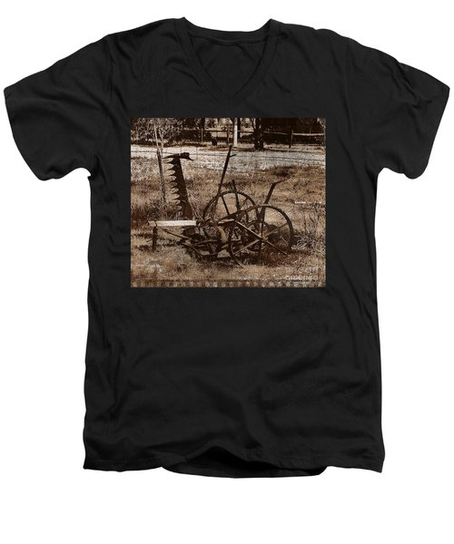 Men's V-Neck T-Shirt featuring the photograph Old Farm Equipment by Blair Stuart
