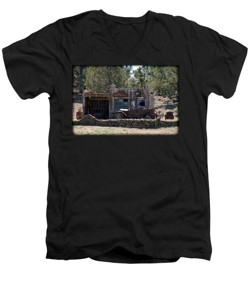 Men's V-Neck T-Shirt featuring the photograph Old Filling Station by Athena Mckinzie
