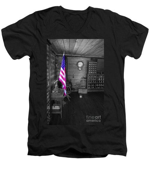 Men's V-Neck T-Shirt featuring the photograph Old Glory by Deniece Platt