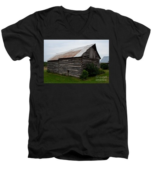 Men's V-Neck T-Shirt featuring the photograph Old Log Building by Barbara McMahon