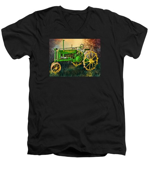 Men's V-Neck T-Shirt featuring the digital art Old Tractor by Mary Almond