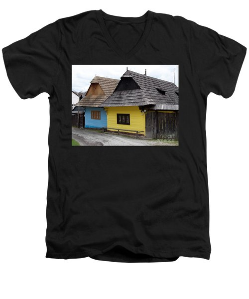 Men's V-Neck T-Shirt featuring the photograph Old Wooden Homes by Les Palenik