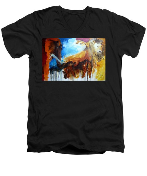 Men's V-Neck T-Shirt featuring the painting On Safari by Keith Thue