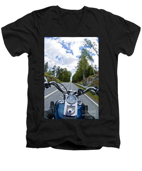 On The Bike Men's V-Neck T-Shirt by Micah May