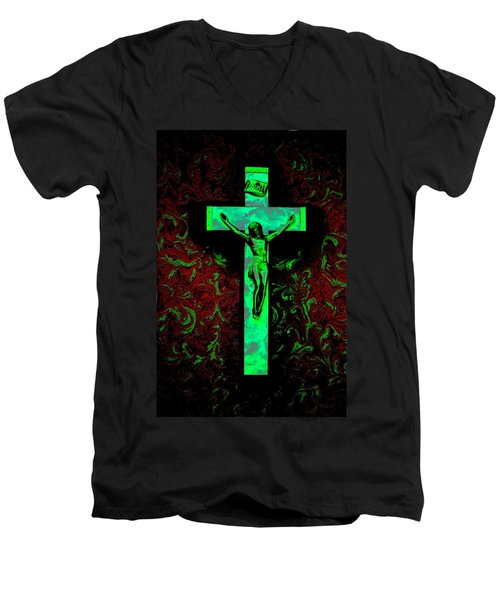 Men's V-Neck T-Shirt featuring the photograph On The Cross by David Pantuso