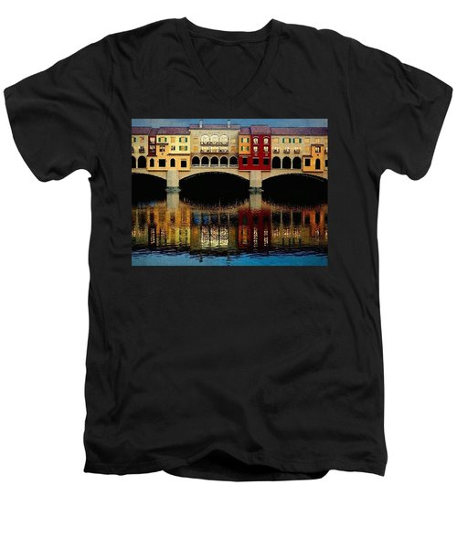 Men's V-Neck T-Shirt featuring the photograph On The Lake by Tammy Espino