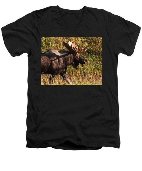 Men's V-Neck T-Shirt featuring the photograph On The Move by Doug Lloyd