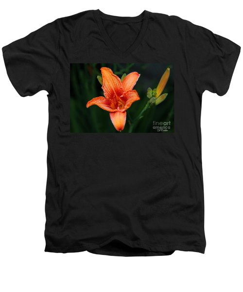 Men's V-Neck T-Shirt featuring the photograph Orange Lily by Davandra Cribbie