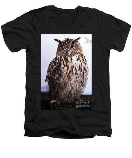 Orange Owl Eyes Men's V-Neck T-Shirt