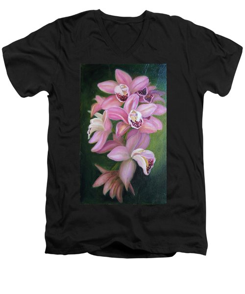 Men's V-Neck T-Shirt featuring the painting Orchids by Marlyn Boyd