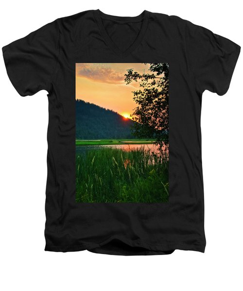 Men's V-Neck T-Shirt featuring the photograph Pack River Delta Sunset 2 by Albert Seger
