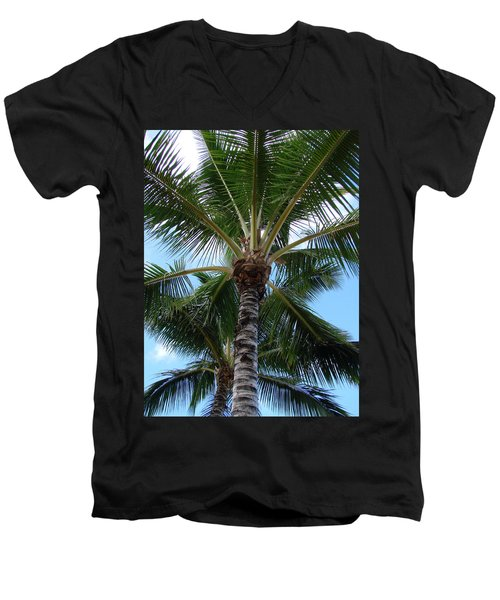 Men's V-Neck T-Shirt featuring the photograph Palm Tree Umbrella by Athena Mckinzie