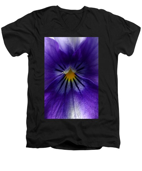 Pansy Abstract Men's V-Neck T-Shirt by Lisa Phillips