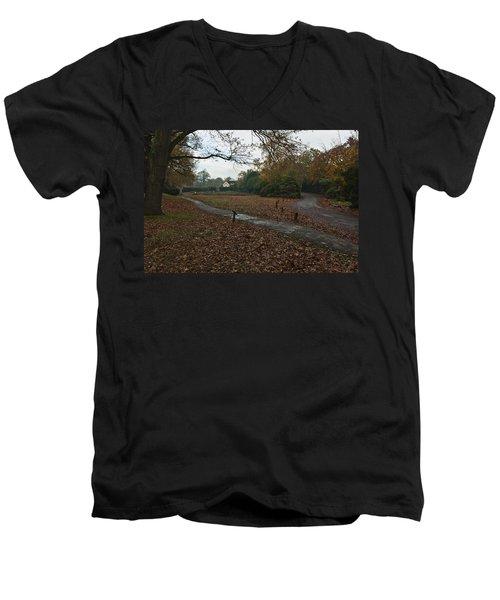 Men's V-Neck T-Shirt featuring the photograph Park Cottage 2 by Maj Seda