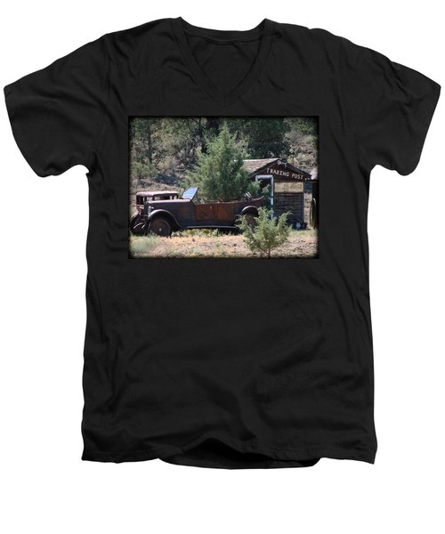 Men's V-Neck T-Shirt featuring the photograph Parked At The Trading Post by Athena Mckinzie