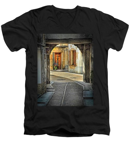 Men's V-Neck T-Shirt featuring the photograph Passageway And Arch In Provence by Dave Mills