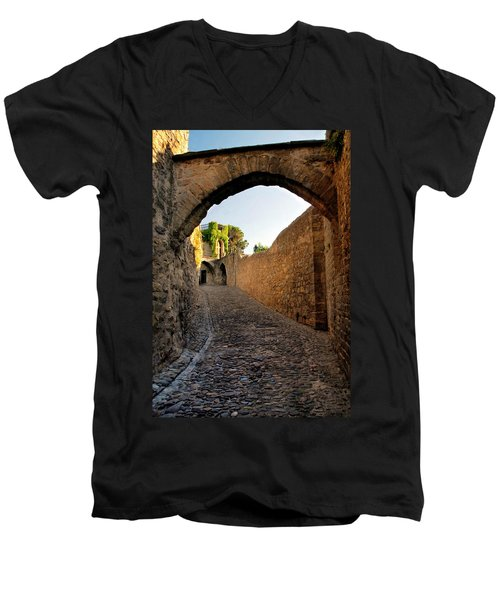 Men's V-Neck T-Shirt featuring the photograph Pathway Through Gordes France by Dave Mills