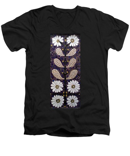 Men's V-Neck T-Shirt featuring the painting Patterns Of The Past by Cynthia Amaral
