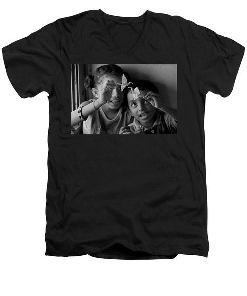 Peace And Love Men's V-Neck T-Shirt by Valerie Rosen