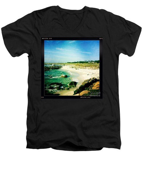 Men's V-Neck T-Shirt featuring the photograph Pebble Beach by Nina Prommer
