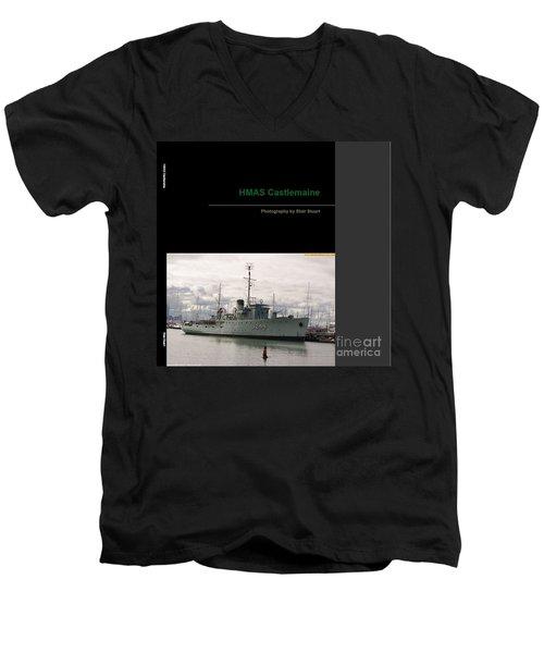 Men's V-Neck T-Shirt featuring the mixed media Photobook On Hmas Castlemaine by Blair Stuart