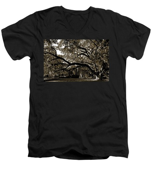 Men's V-Neck T-Shirt featuring the photograph Picnic Under The Oak by DigiArt Diaries by Vicky B Fuller