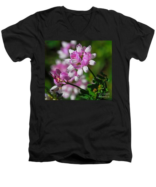Pink And White Men's V-Neck T-Shirt by Cindy Manero