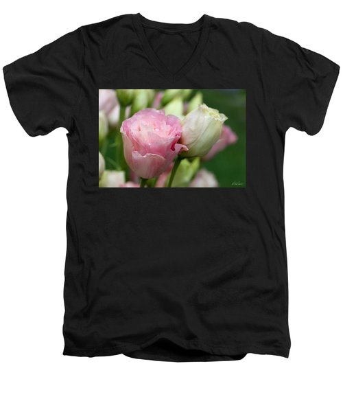 Pink And White Lisianthus Men's V-Neck T-Shirt