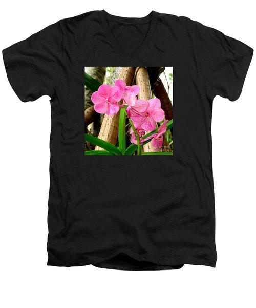 Pink Hawaiian Orchid Men's V-Neck T-Shirt