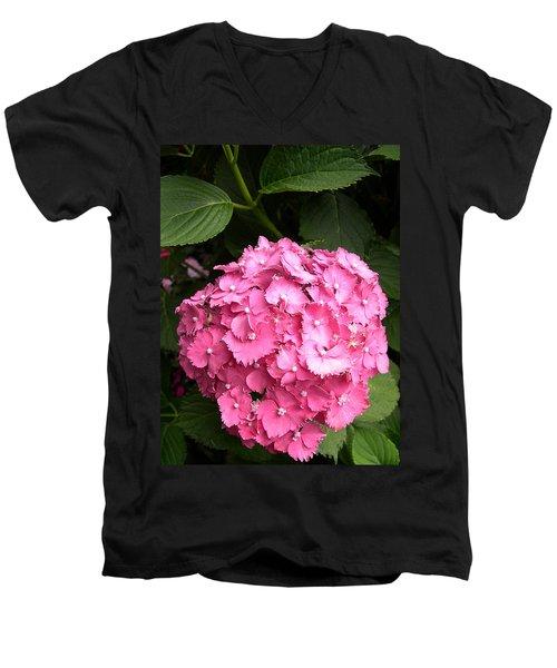Men's V-Neck T-Shirt featuring the digital art Pink Hydranga by Claude McCoy